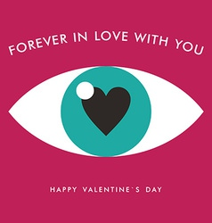 St Valentines day greeting card in flat style Eye vector image