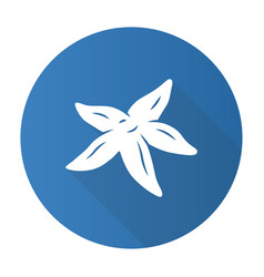 Starfish blue flat design long shadow glyph icon vector