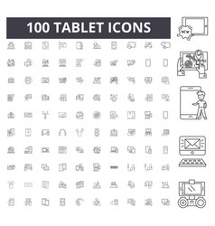 tablet line icons signs set outline vector image
