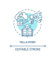 tell story blue concept icon vector image