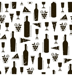 Texture with wine bottles cheese and grapes vector image