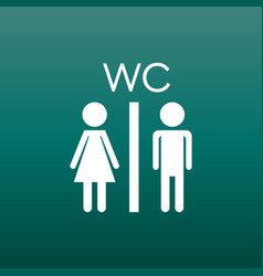 Toilet restroom icon on green background modern vector