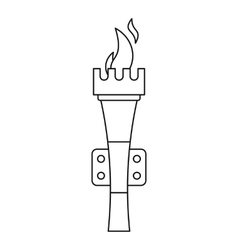 Torch with flame icon outline style vector