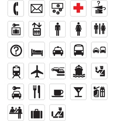 Tourist locations icon set vector