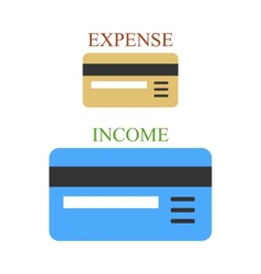 Two bank cards as sings income and expense vector