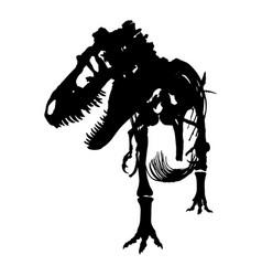 Tyrannosaurus rex skeleton silhouette front vector