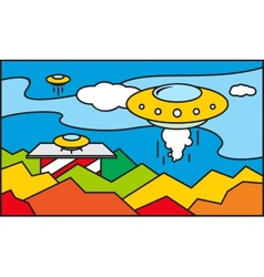 UFO stained glass pattern vector