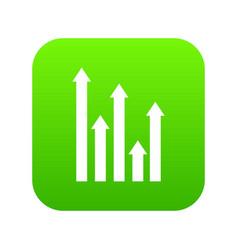 upside growing arrows icon digital green vector image