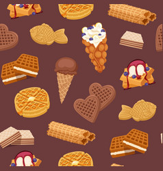 waffles cookies and ice cream waffle-cakes and vector image