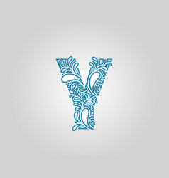 Water splash initial y letter logo icon vector