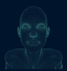 wireframe a girl with her head up wireframe of vector image