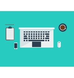 Workspace with laptop and coffee vector