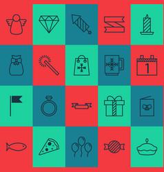 year icons set with firework mug postcard and vector image