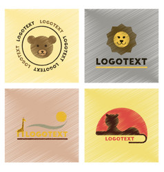 assembly flat shading style icons logo bear lion vector image vector image