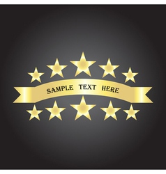 background with gold ribbon and stars vector image vector image