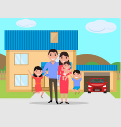 cartoon happy family bought a new house vector image vector image
