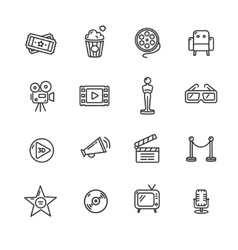 Cinema Outline Icon Set vector image