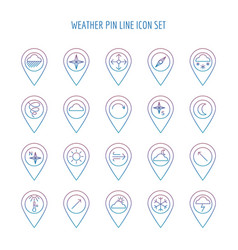 colorful weather line pin collection vector image