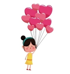 girl with balloons pink hearts valentine vector image vector image