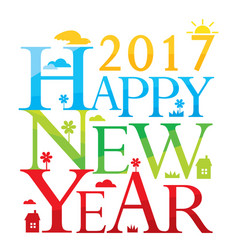 happy new year 2017 font vector image