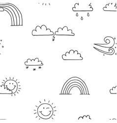 seamless pattern weather sun rain cloud wind vector image