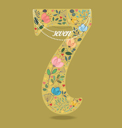 yellow number seven with floral decor and necklace vector image vector image