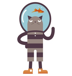Cartoon cat with fish vector image