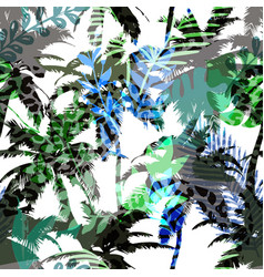colourful trendy seamless exotic pattern with palm vector image