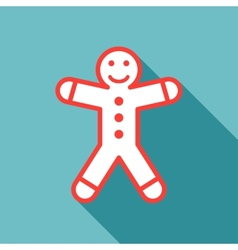 gingerbread man on blue background vector image vector image