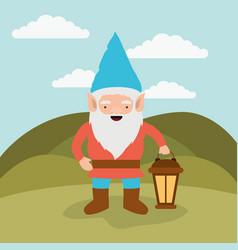 gnome fantastic character with hand lamp in vector image