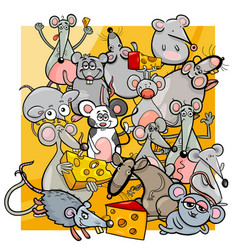 cartoon mice and rats with cheese vector image vector image