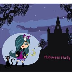 halloween invitation with beautiful witch and vector image vector image