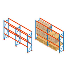 isometric warehouse shelves with boxes and empty vector image vector image