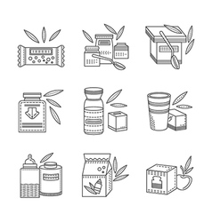 Line icons for healthy nutrition vector image vector image