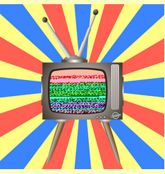 old broken television glitch on retro tv screen vector image