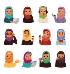 Arabic woman set vector