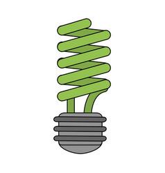 Color image cartoon fluorescent light bulb vector