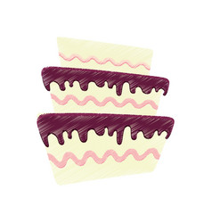 drawing cake pastry sweet vector image