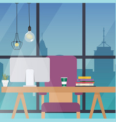 office work place flat design modern business vector image vector image
