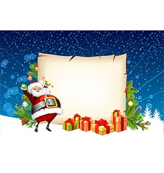 Santa Claus holding a candy and standing beside vector image vector image