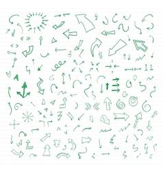 Set of green hand drawn arrows vector image vector image