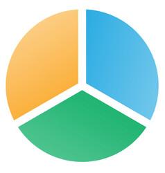 3 piece pie chart vector