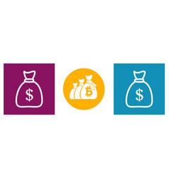 bag money set modern icons in different vector image