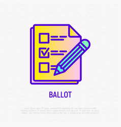 Ballot document with mark and pencil line icon vector