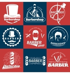 Barbershop Retro Style Stickers vector image