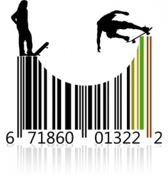 barcode skaters vector image
