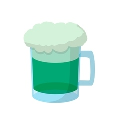 Beer mug of green beer with a foamy head icon vector