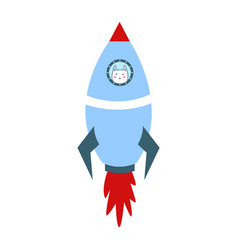 blue space shuttle with cute cartoon style white vector image