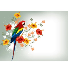 bright parrots sitting on a branch vector image