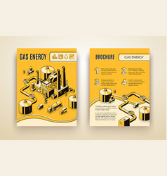 brochure with gas energy plant refinery vector image